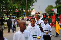 Wandelmars AVD walking on streets Paramaribo Suriname