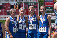 Jefferson (Festus) 4x800 team of (left to right) Alyssa Becherer, Kendall Runzi, MacKenzie Null, and Hilah Fish pose on the awards podium after their  third-place finish in the Class 2 race at the Missouri Class 1 and 2 State Track and Field Championships in Jefferson City, Saturday, May 21.