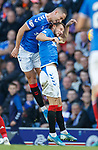 28.09.2018 Rangers v Aberdeen: Nikola Katic tackles his Croatian team mate Borna Barisic