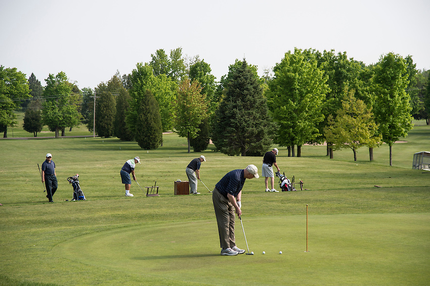 Driving and putting practice at the Marquette Golf and Country Club in Marquette, Michigan.
