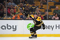 September 26, 2018: Boston Bruins center Trent Frederic (82) signals for the puck during the NHL pre-season game between the Detroit Red Wings and the Boston Bruins held at TD Garden, in Boston, Mass. Detroit defeats Boston 3-2 in overtime. Eric Canha/CSM