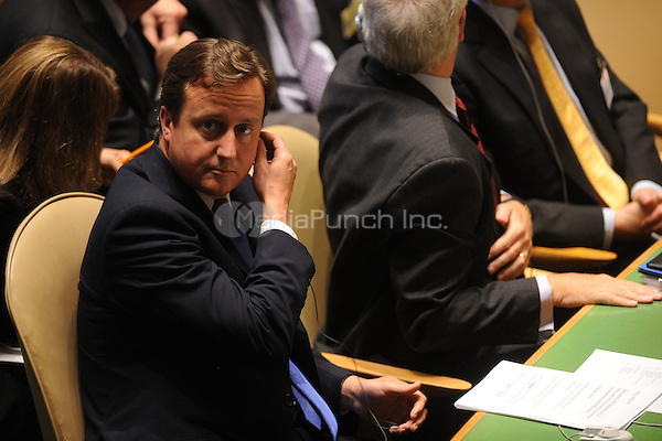 British Prime Minister David Cameron at the 66th General Assembly Session at the United Nations on September 22, 2011 in New York City.  Credit: Dennis Van Tine/MediaPunch