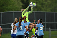 Piscataway, NJ, May 13, 2016. Sky Blue FC goalkeeper Caroline Stanley (18) grabs the ball in a crowd.  Sky Blue FC defeated the Boston Breakers, 1-0, in a National Women's Soccer League (NWSL) match at Yurcak Field.