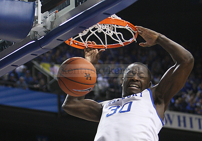 UK forward Julius Randle (30) dunks the ball during second the half of UK Men's Basketball vs. Ole Miss at Rupp Arena in Lexington, Ky., on Tuesday, February 4, 2014. Photo by Emily Wuetcher | Staff