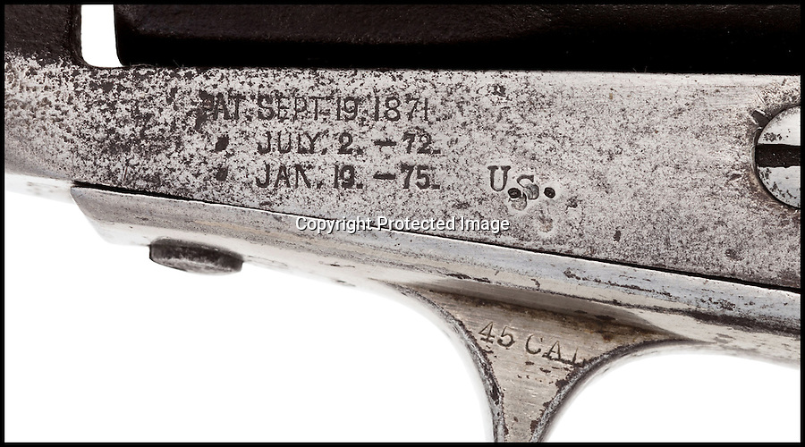 BNPS.co.uk (01202) 558833<br /> Picture: HeritgeAuctions/BNPS<br /> <br /> ****Please use full byline****<br /> <br /> A pistol belonging to infamous Wild West outlaw Jesse James has emerged for sale 130 years after he was assassinated by a government hit-man.<br /> <br /> The Colt .45 revolver was a favourite of the notorious gunslinger who spent more than 20 years terrorising the Mid West with his gang of bandits in the mid 19th century.<br /> <br /> Experts have described his gun as one of the most significant ever to appear at auction.