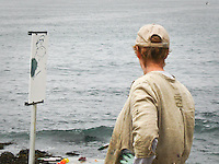 Artist Joyce Converse (joyceconversepaintings.com) at her easel on the central California coast