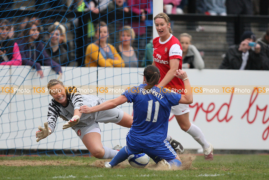 Emma Byrne of Arsenal denies Claire Rafferty an almost certain goal - Chelsea Ladies vs Arsenal Ladies - FA Women's Super League Football at Tooting & Mitcham United FC - 13/04/11 - MANDATORY CREDIT: Gavin Ellis/TGSPHOTO - Self billing applies where appropriate - Tel: 0845 094 6026