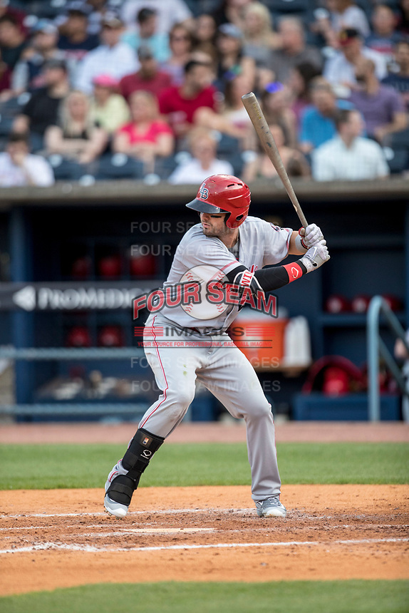 Louisville Bats outfielder Jesse Winker (23) at bat against the Toledo Mud Hens during the International League baseball game on May 17, 2017 at Fifth Third Field in Toledo, Ohio. Toledo defeated Louisville 16-2. (Andrew Woolley/Four Seam Images)