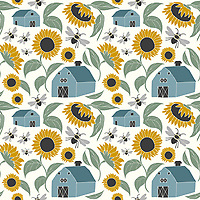 &quot;At Sunflower Farm&quot; is a hand illustrated scalable vector surface pattern collection - inspired by the serene country scene of sunflowers farms, barns and bees!<br />