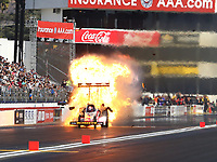Feb 11, 2018; Pomona, CA, USA; NHRA top fuel driver Doug Kalitta explodes an engine on fire during round one of the Winternationals at Auto Club Raceway. Mandatory Credit: Mark J. Rebilas-USA TODAY Sports