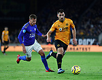 Jonny Otto of Wolverhampton Wanderers chased by Marc Albrighton of Leicester City during the Premier League match at Molineux, Wolverhampton. Picture date: 14th February 2020. Picture credit should read: Darren Staples/Sportimage