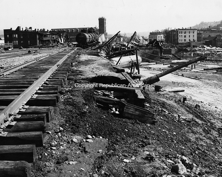 Flood damage to the Railroad tracks in Waterbury caused by the August 1955 flood.