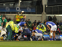 9th November 2013; Brando Vaaulu of Samoa receives treatment for an injury. Autumn International Series, Ireland v Samoa, Aviva Stadium, Dublin. Picture credit: Tommy Grealy/actionshots.ie.