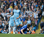 Gabriel Jesus of Manchester City tackled by Andy King of Leicester City during the English Premier League match at the Etihad Stadium, Manchester. Picture date: May 13th 2017. Pic credit should read: Simon Bellis/Sportimage