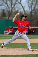 Peoria Chiefs pitcher Dailyn Martinez (4) delivers a pitch during a Midwest League game against the Beloit Snappers on April 15, 2017 at Pohlman Field in Beloit, Wisconsin.  Beloit defeated Peoria 12-0. (Brad Krause/Four Seam Images)
