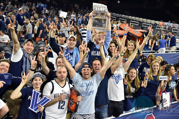 04 APR 2016:  Villanova University fans celebrate their team's victory after the Wildcats defeated the University of North Carolina 77-74 during the 2016 NCAA Final Four held at the NRG Stadium in Houston, TX.  Chris Steppig/NCAA Photos