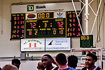 18 December 2018: The University of Vermont Catamount scoreboard shows a tie after the first overtime period of play against the St. Bonaventure University Bonnies at Patrick Gymnasium in Burlington, Vermont. The Catamounts defeated the Bonnies 83-76 in a double-overtime NCAA DI game. Mandatory Credit: Ed Wolfstein Photo *** RAW (NEF) Image File Available ***