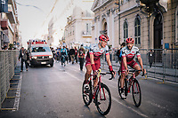 Nathan Haas (AUS/Katusha-Alpecin) &amp; Nils Politt (DEU/Katusha-Alpecin) rolling back to the teambus after finishing on the Via Roma<br /> <br /> 109th Milano-Sanremo 2018<br /> Milano &gt; Sanremo (291km)