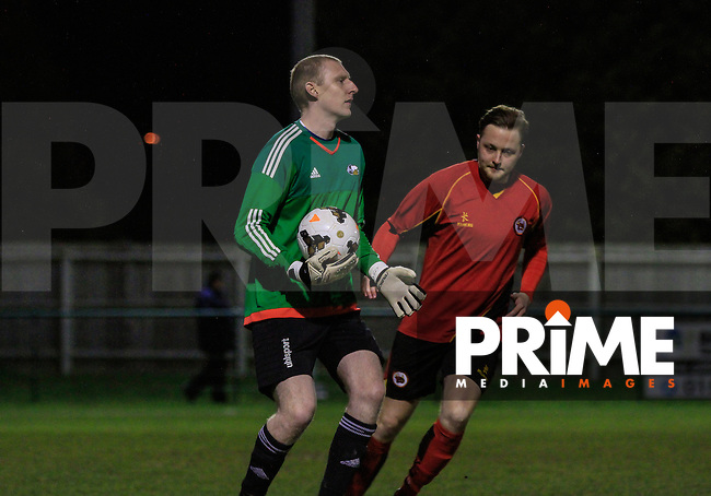 Match action from the Bedfordshire FA Sunday Cup between A.C. Sportsman (STOPSLEY) (North Home Counties SFL Premier Division) and Bedford Allsters  (Bedford & District SFL Premier Division) at Creasey Park, Dunstable, England on 18 March 2016. Photo by Liam Smith/PRiME Media Images.
