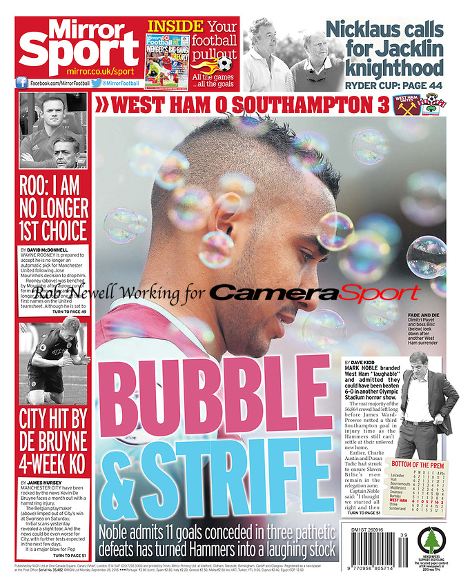 Daily Mirror 26-Sep-2016 - 'BUBBLE & STRIFE' Dimitri Payet - Photo by Rob Newell (Camerasport via Getty Images)