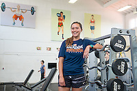 """Brachelle Nueku '17 is a Kinesiology major at Oxy. She's not waiting for grad school to conduct original research. Her work this summer is being done in partnership with our Undergraduate Research Center's Summer Research Program. Photographed in the Alumni Gym and in Jack Kemp Stadium June 21, 2016.<br /> <br /> """"The main focus is just seeing the long-term effects of what your elementary playground looks like and how that affects your physical activity later on in life. <br /> We did our baseline testing last semester by measuring students' physical activity levels during recess and lunch breaks. Our hypothesis is that [playgrounds with grass] will increase kids' physical activity levels. There's never been a long-term study for that.""""<br /> <br /> https://www.instagram.com/p/BHh_jfXAD6d/?taken-by=occidentalcollege<br /> (Photo by Marc Campos, Occidental College Photographer)"""