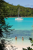 Seychelles, Island Mahe, Port Launay, Anse Souillac: sailing boat at Port Launay Marine National Park - couple