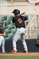 Chris Clare (9) of the Delmarva Shorebirds at bat against the Kannapolis Intimidators at Kannapolis Intimidators Stadium on July 2, 2017 in Kannapolis, North Carolina.  The Shorebirds defeated the Intimidators 5-4.  (Brian Westerholt/Four Seam Images)