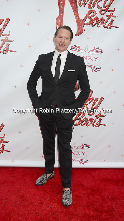 "Carson Kressley arrives at the ""Kinky Boots"" Broadway Opening on April 4, 2013 at The Al Hirschfeld Theatre in New York City. Harvey Fierstein wrote is the Book Writer and Cnydi Lauper is the Composer."