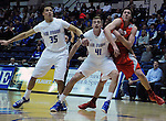 February 4, 2015 - Colorado Springs, Colorado, U.S. -    Air Force center, Zach Moer #41, and forward, Hayden Graham #35, control the lane during a Mountain West Conference match-up between the New Mexico Lobos and the Air Force Academy Falcons at Clune Arena, U.S. Air Force Academy, Colorado Springs, Colorado.  Air Force upsets New Mexico 53-49.