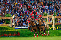 Team 1 for the Jump and Drive: Ingrid Klimke; Pius Schwizer; Jerome Voutaz. 2019 GER-CHIO Aachen Weltfest des Pferdesports. Saturday 20 July. Copyright Photo: Libby Law Photography