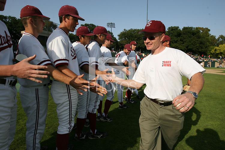 9 May 2008: Ceremonial first pitch during Stanford's 4-3 loss in 10 innings against the California Golden Bears at Sunken Diamond in Stanford, CA.