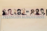 6/3/2015-- Kobane,Syria-- A photo of kurdish political leaders on a wall of YPG's military storage as it is the only photo in Kobane that has all the political leaders gathered together.