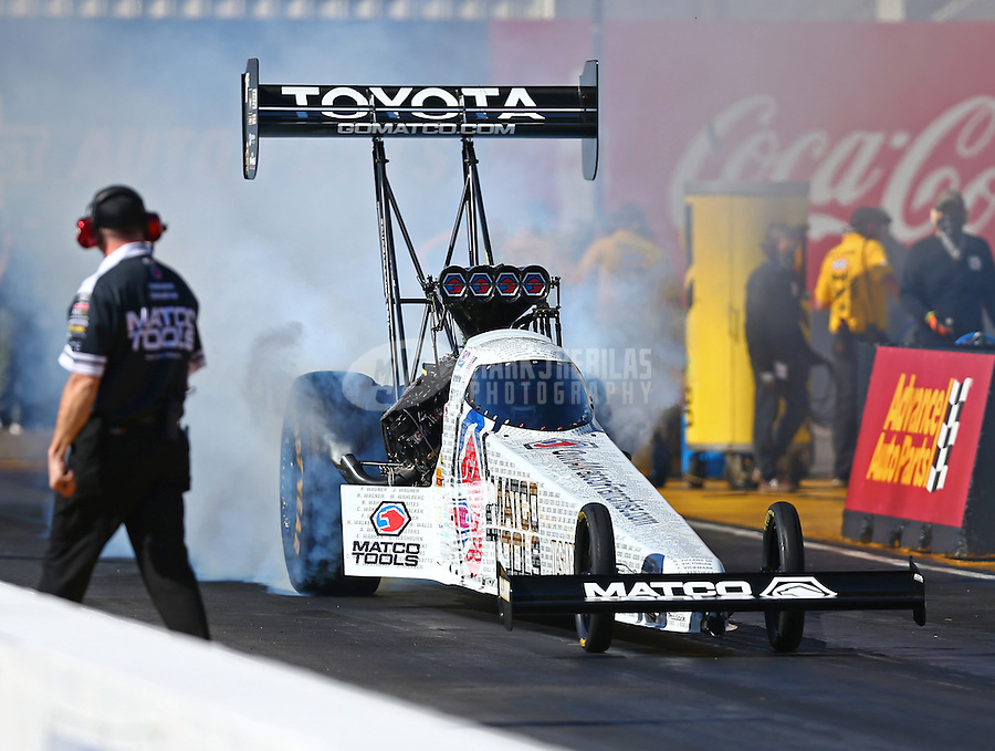 Feb 24, 2017; Chandler, AZ, USA; NHRA top fuel driver Antron Brown during qualifying for the Arizona Nationals at Wild Horse Pass Motorsports Park. Mandatory Credit: Mark J. Rebilas-USA TODAY Sports