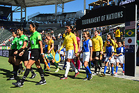 Carson, CA - Thursday August 03, 2017: Bruna Benites, Dani Neuhaus during a 2017 Tournament of Nations match between the women's national teams of Australia (AUS) and Brazil (BRA) at the StubHub Center.