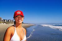 California, Santa Cruz County, Pajaro Dunes, Woman on beach