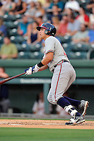 Third baseman Austin Riley (13) of the Rome Braves bats in a game against the Greenville Drive on Thursday, July 28, 2016 at Fluor Field at the West End in Greenville, South Carolina. (Tom Priddy/Four Seam Images)
