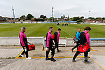 Jersey players arrive at the ground, while the Yorkshire players inspect the pitch. Yorkshire v Parishes of Jersey, CONIFA Heritage Cup, Ingfield Stadium, Ossett. Yorkshire's first competitive game. The Yorkshire International Football Association was formed in 2017 and accepted by CONIFA in 2018. Their first competative fixture saw them host Parishes of Jersey in the Heritage Cup at Ingfield stadium in Ossett. Yorkshire won 1-0 with a 93 minute goal in front of 521 people. Photo by Paul Thompson