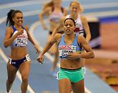 10th February 2019, Arena Birmingham, Birmingham, England; Spar British Athletics Indoor Championships; Shelayna Oskan-Clarke wins the Women's 800m final during Day Two of the Spar Indoor Athletics Championships at Birmingham Arena