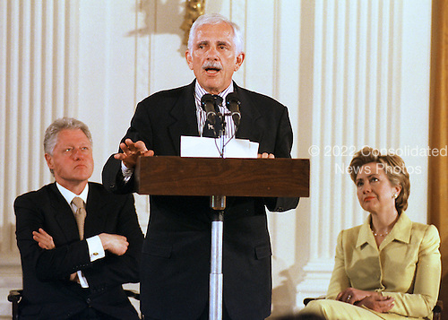 """Ben Casey of the Dallas YMCA delivers the keynote speech at the """"White House Conference on Teenagers: Raising Responsible and Resourceful Youth"""" in Washington, DC on 2 May, 2000.  United States President Bill Clinton and First Lady Hillary Rodham Clinton look on at left and right respectively.<br /> Credit: Ron Sachs / CNP"""