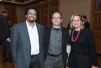 From left, Ray A. Billington Visiting Professor of History Frank Guridy, professor Michael Gasper and history professor and chair of the department Marla Stone. The Occidental College History Department hosts a dinner for the Ray Allen Billington Visiting Professorship in United States History, which Oxy co-founded with the Huntington Library, November 17, 2014 in Dumke Commons, Swan Hall. (Photo by Marc Campos, Occidental College Photographer)