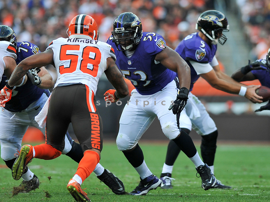 CLEVELAND, OH - JULY 18, 2016: Center Jeremy Zuttah #53 of the Baltimore Ravens prepares to engage linebacker Christian Kirksey #58 of the Cleveland Browns in the first quarter of a game on July 18, 2016 at FirstEnergy Stadium in Cleveland, Ohio. Baltimore won 25-20. (Photo by: 2017 Nick Cammett/Diamond Images)  *** Local Caption *** Jeremy Zuttah; Christian Kirksey(SPORTPICS)