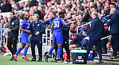 4th November 2017, Ashton Gate, Bristol, England; EFL Championship football, Bristol City versus Cardiff City; Omar Bogle of Cardiff City celebrates with the  Cardiff City bench after scoring Cardiff City's first goal