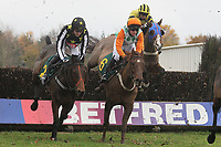 Race winner Peak Seasons ridden by Gerard Galligan (C) in jumping action during the Fakenham, Diana And Tonys Favourite Racecourse Conditional Jockeys Handicap Chase