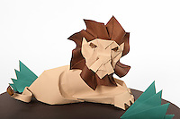 Lion designed and folded by Paul Frasco<br /> Grass: designer + folder - Rosalind Joyce