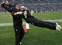 Cincinnati cheerleaders. The Cincinnati Bearcats defeated the Pittsburgh Panthers 45-44 in the final seconds of the River City Rivalry in a contest for the Big East Championship and a major bowl bid on December 5, 2009 at Heinz Field, Pittsburgh, Pennsylvania. .