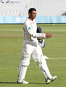 28th September 2017, Old Trafford Cricket Ground, Manchester, England; Specsavers County Championship, day 4, Lancashire versus Surrey; Shivnarine Chanderpaul of Lancashire walks off having sealed a Lancashire victory in the first half hour of play with a series of big boundaries