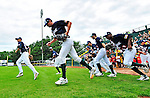 3 July 2011: The Vermont Lake Monsters take the field to face the Tri-City ValleyCats at Centennial Field in Burlington, Vermont. The Lake Monsters rallied from a 6-3 deficit, scoring 4 runs in the bottom of the 9th, to defeat the ValletCats 7-6 in NY Penn League action. Mandatory Credit: Ed Wolfstein Photo