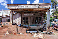 Bert's Auto Repair abandoned shop building in Hanapepe, Kaua'i