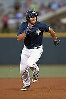 Designated hitter Tim Tebow (15) of the Columbia Fireflies runs the bases in a game against the Lexington Legends on Thursday, June 8, 2017, at Spirit Communications Park in Columbia, South Carolina. Columbia won, 8-0. (Tom Priddy/Four Seam Images)