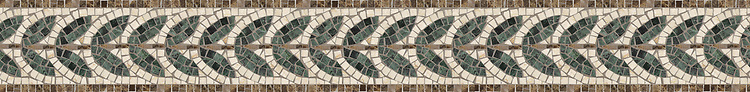 "5"" Ariano border, a hand-cut stone mosaic, shown in polished Botticino, Emperador Dark, and Verde Alpi."